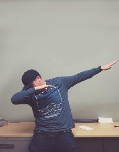 man dabbing dance
