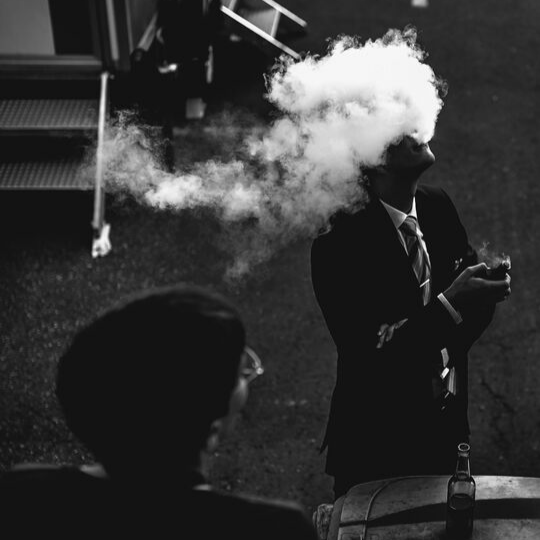 vaping in black and white