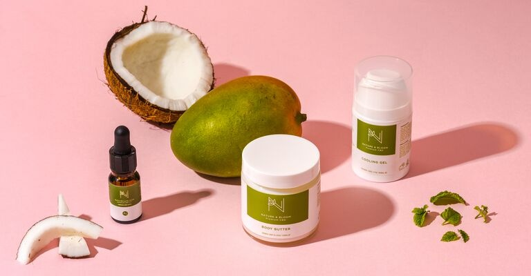 CBD Skincare range on pink