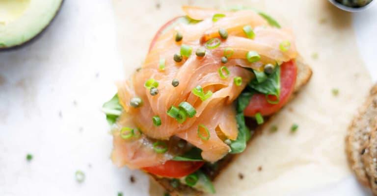 salmon and avocado cbd toast
